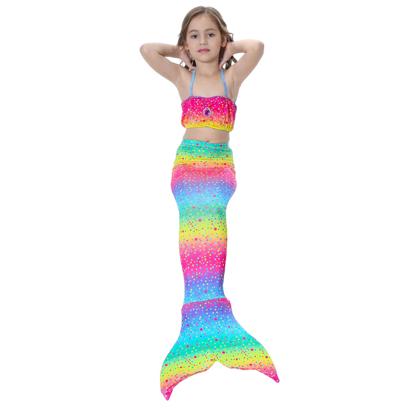 Kids Mermaid Cosplay swimwear Suit Baby Girls Little Mermaid Tails Children Swimsuit Bikini Dress Skirt
