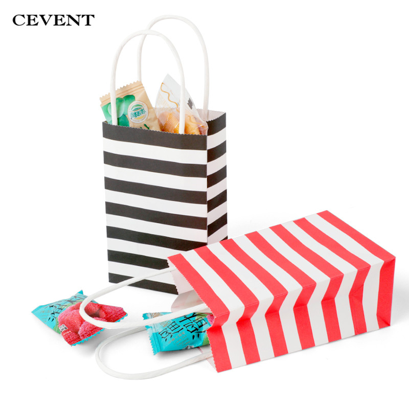 Small Wedding Gift Bags: CEVENT Stripe Small Gift Bag With Handles Wedding