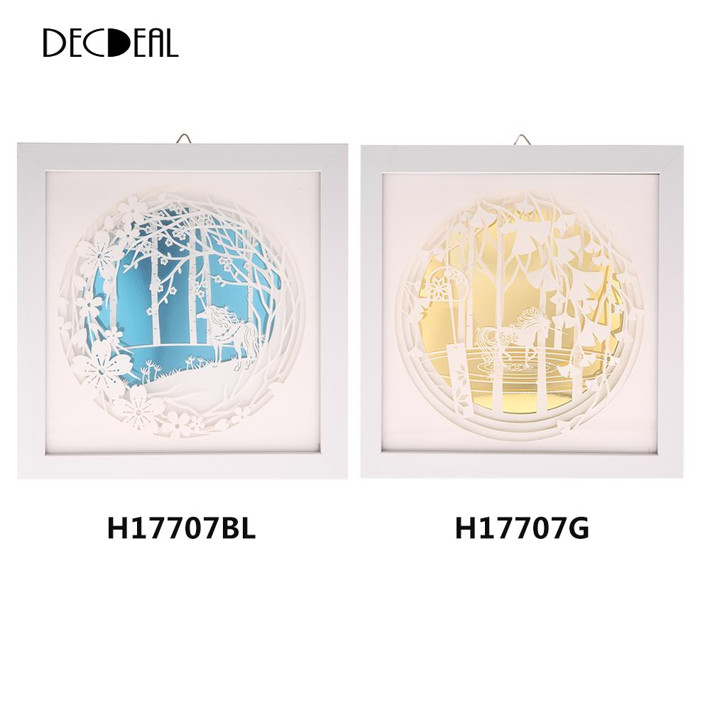 24x24cm Wall Decoration DIY 3D Painting with Frame Delicate Paper Engraving Picture Wall Room Decals Decorative Painting 2 Color