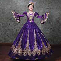 Angepasst 2018 Gold Appliques Muster Marie Antoinette Zeitraum Kleid V-ausschnitt Frauen Rokoko Barock Party Kleid Ball Kleider Kostüme