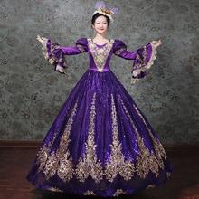 Angepasst 2018 Gold Appliques Muster Marie Antoinette Zeitraum Kleid V ausschnitt Frauen Rokoko Barock Party Kleid Ball Kleider Kostüme