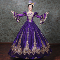 Customized 2018 Gold Appliques Pattern Marie Antoinette Period Dress V Neck Women Rococo Baroque Party Dress Ball Gowns Costumes