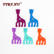 TYRY.HU Happy Giraffe Baby Teether BPA Free Deer Silicone Teethers Beads For DIY Necklace Pacifier Chain Dental Care Pendants