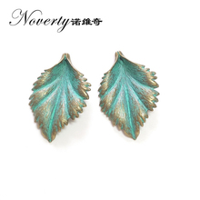 2017 New 5pcs 45*30MM Retro Patina Plated Zinc Alloy Green Leaf Charms Pendants for DIY Necklace Metal Jewelry Accessories