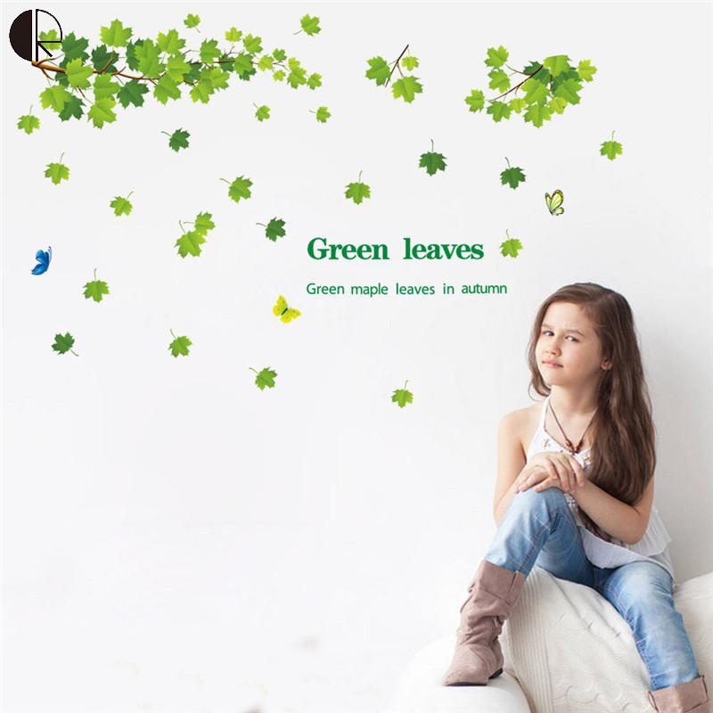 Elegant Green Leaves Diy Beautiful Home Decor Wall Stickers Vinyl Stikcer Wall for Kitchen Bathroom Mirror Decal Poster HH1285