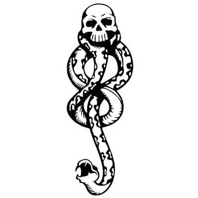 Waterproof Temporary Tattoo Sticker DEATH EATERS Snake Skull Head Fake Tatto Flash Tatoo Temporaire For Men Women Kids Girl(China)