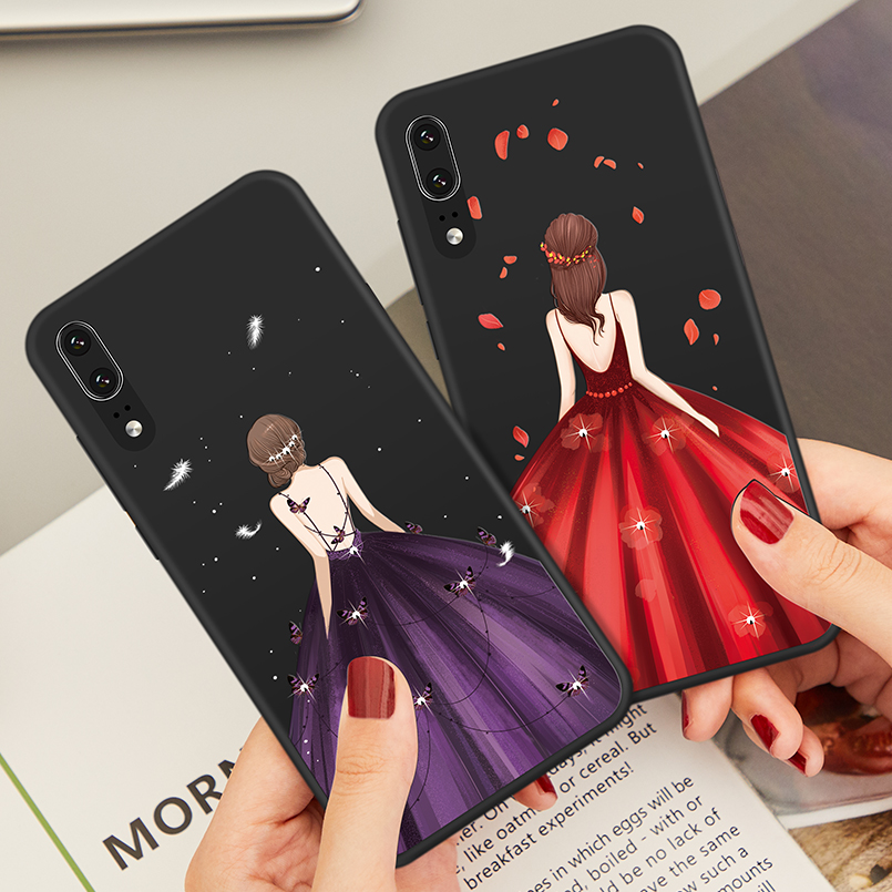 ASINA Luxury Silicone Case For Huawei P20 Beautiful 3D Relief Dress Bumper P Smart Honor 10 Y9 2019 Mate 20 Lite