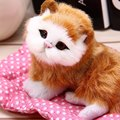 Mini Cute Simulation Plush Animal Cats Lazy Sleeping Cats Craft Toy with Sound for Birthday Christmas Gift Doll Decorations