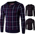 New Arrives 2017 Fitness Winter Men's Cardigans Sweaters Casual Clothes For Men Zipper up Sweater Grid Warm Knitwear Sweater