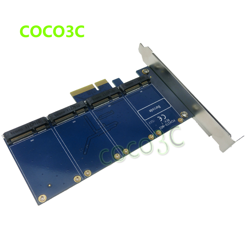 ФОТО 4 mSATA SSD PCIe Controller Card RAID0 RAID1 RAID10 Marvell HyperDuo PCI-e flash solutions accelerates databases