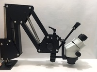 Flexible Arm Zoom Microscope For Jewelry Stone Diamond Repairing Setting 0.7X 4.5X Zoom Stand with LED Light Clamp