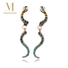 1 Pair Chic Blue Crystal Snake Dangle Earrings 2018 Latest Party Drop Earrings for Women Fashion Jewelry(China)