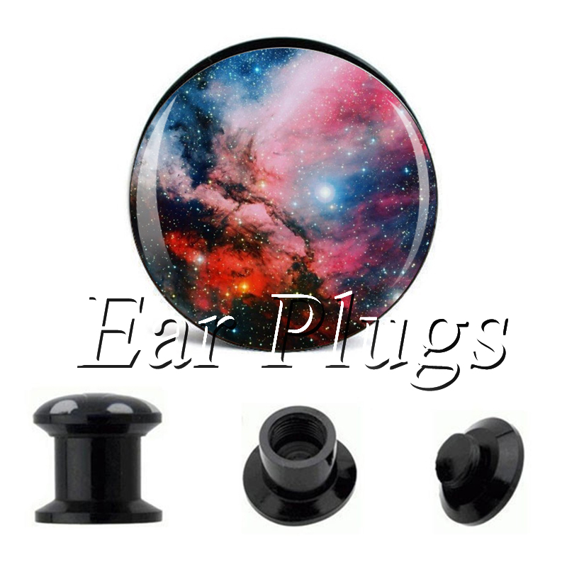 Wholesale Colorful Galaxy plug gauges acrylic screw ear plug flesh tunnel piercing body jewelry