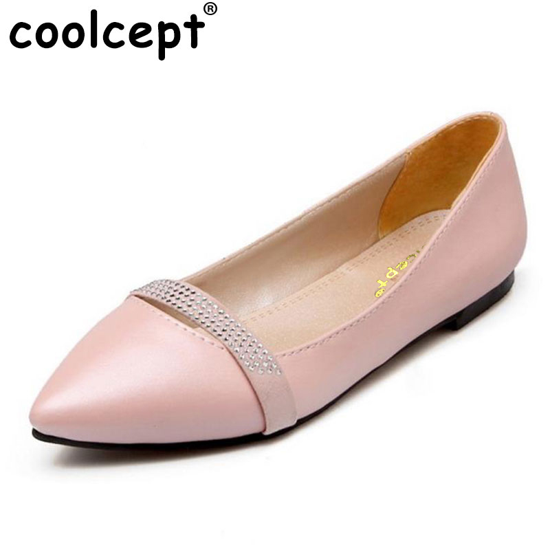 Coolcept Plus Size 30-49 New Arrival Flat Women Ballet Shoes Girls Retro Shoes Women Pointed Toe Slip-on Casual Shoes Escarpin sweet women high quality bowtie pointed toe flock flat shoes women casual summer ladies slip on casual zapatos mujer bt123