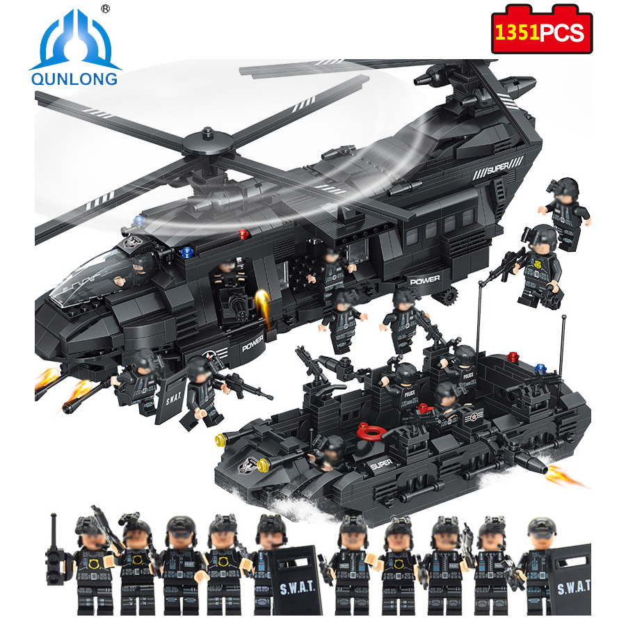 Qunlong Military Army Swat Team Building Blocks Transport Helicopter Compatible Legoed City Star Wars Enlighten Educational Toys qunlong toys military swat team command