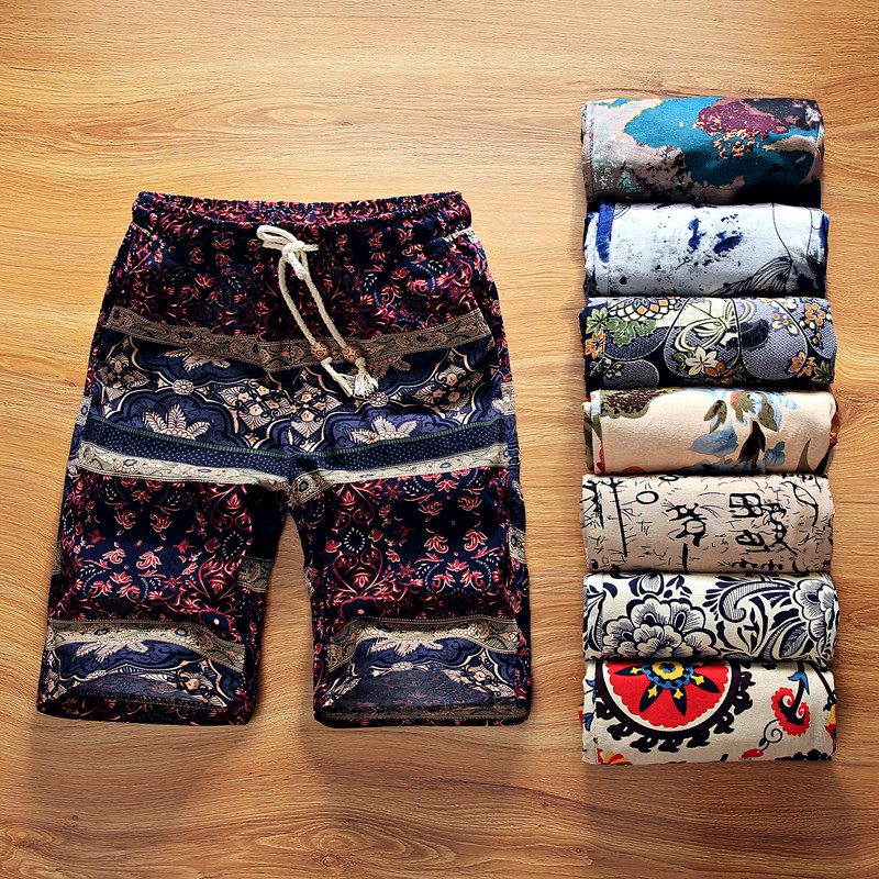 2019 Summer New Boutique Flower Cotton Linen Men's Casual Beach Shorts Men's Comfortable Breathable Leisure Shorts Male