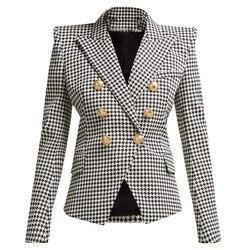 Alta calidad nueva moda 2020 de chaqueta de manga larga de las mujeres de Metal botones de León pata de gallo Blazer estampado chaqueta