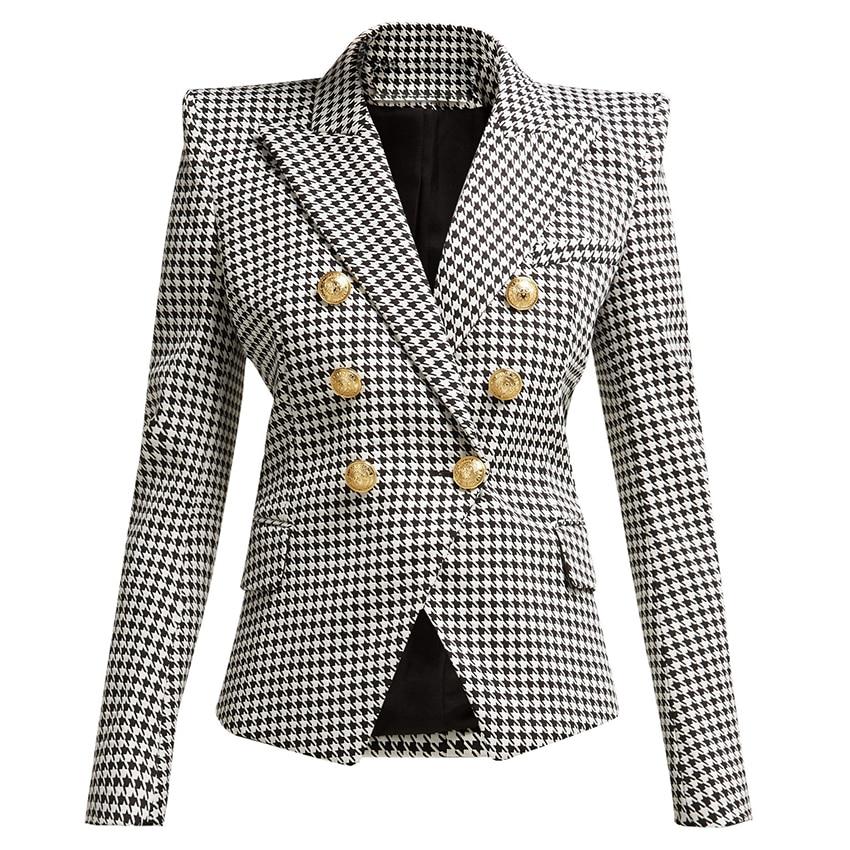 Alta qualidade nova moda 2019 designer blazer feminino manga longa metal leão botões houndstooth impressão blazer jaqueta