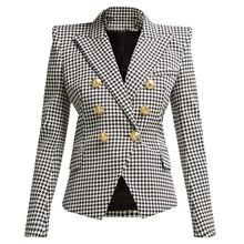 Blazer feminino de manga longa, novidade, moderno, de 2020, manga longa, de metal, botões de leão, com capuz