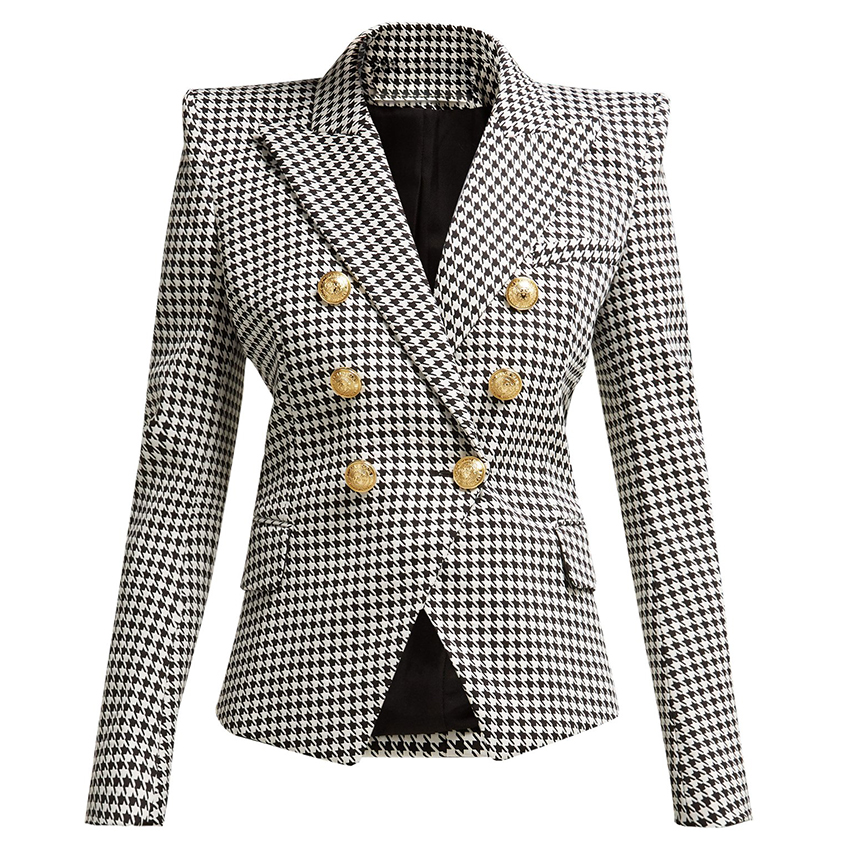 HIGH QUALITY New Fashion 2019 Designer Blazer Women's Long Sleeve Metal Lion Buttons Houndstooth Print Blazer Jacket