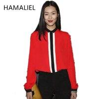 HAMALIEL HIGH QUALITY Newest Fashion 2017 Runway Designer Shirt Summer Women S Long Sleeve Elegant Color