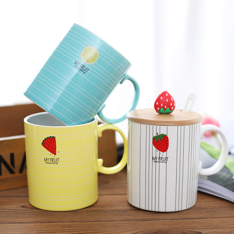 New Creative Fruit Mug Cartoon Ceramic Tea Mug Office Water Cup Student Couple Gifts With Handle Cover Spoon