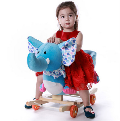 Early childhood music wooden rocking horse Trojan dual-purpose baby rocking chair rockin ...