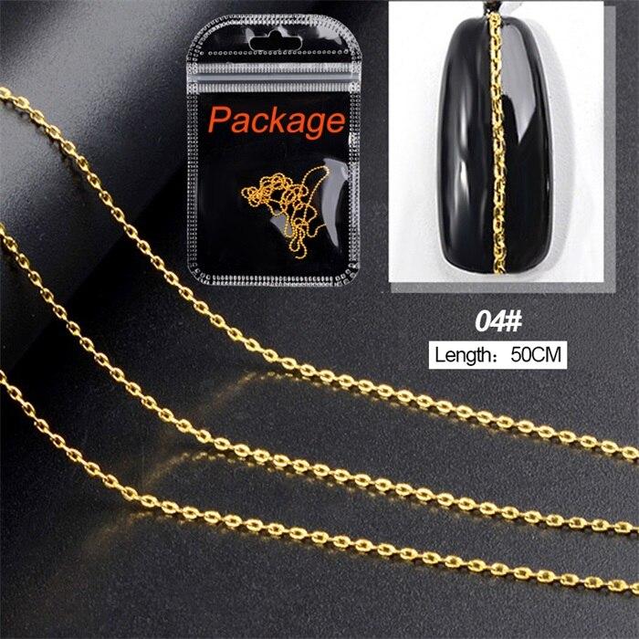 3D металлические украшения для нейл-арта, золотая металлическая цепочка, бисер, линия, много размеров, змеиная кость, сделай сам, украшение для маникюра, нейл-арта, 1 коробка - Цвет: 462544