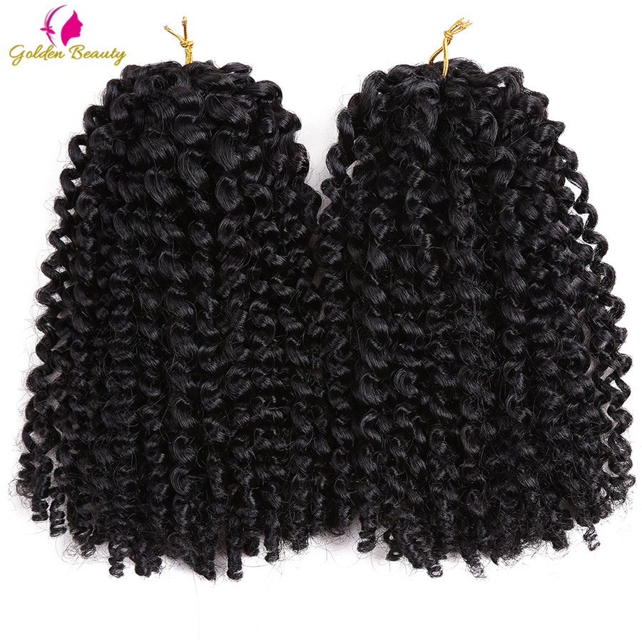 Golden Beauty Marley Curly Crochet Braids Hair Ombre Synthetic Kinky Twist Braiding Hair Extensions For Women 8inch 12inch