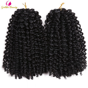 Golden Beauty Marley Curly Crochet Braids Hair Ombre Synthetic Kinky Twist Braiding Hair Extensions for women 8inch 12inch(China)