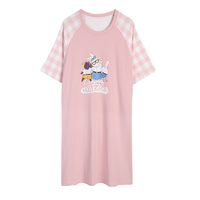 Cute Pink Cartoon Soft Cotton   Nightgown   Women   Sleepshirt   Nightwear 2019 Summer Short Sleeve Nightdress Sleepwear Plus Size 3XL