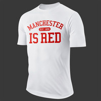2016 New United Kingdom Red Letter Print T Shirt Men Cotton O Neck Manchester Tee Shirts