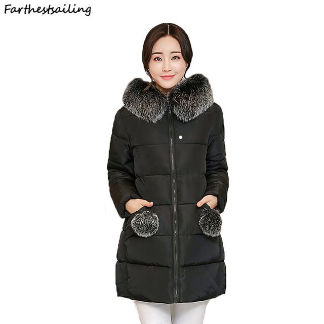 a623520e503 2018 Women Winter Hooded Warm Coat Cotton Padded Basic Jacket Female Medium- long Jaqueta Feminina Jackets Woman Winter Coat