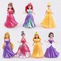 7 pçs/set 3 polegada branco da neve princesa Tangled Rapunzel PVC Figura Dolls Presente Brithday Para Crianças Bolo Topper