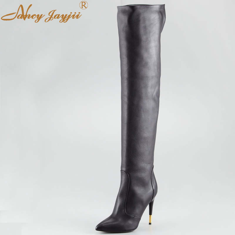 Fashion Black Women Leather Pointed Toe Stiletto Women Sexy High Heel Over The Knee Boots Dropping Shipping Plus Size 4-16 nemaone plus size hot spring autumn women boots sexy high heel over the knee soft pu leather black white fashion high boots