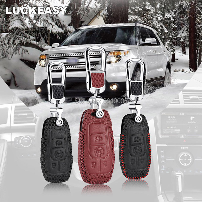 LUCKEASY For Lincoln MKZ MKX MKC 14-16 Brand New High Quality leather Smart Remote key Case Cover Holder