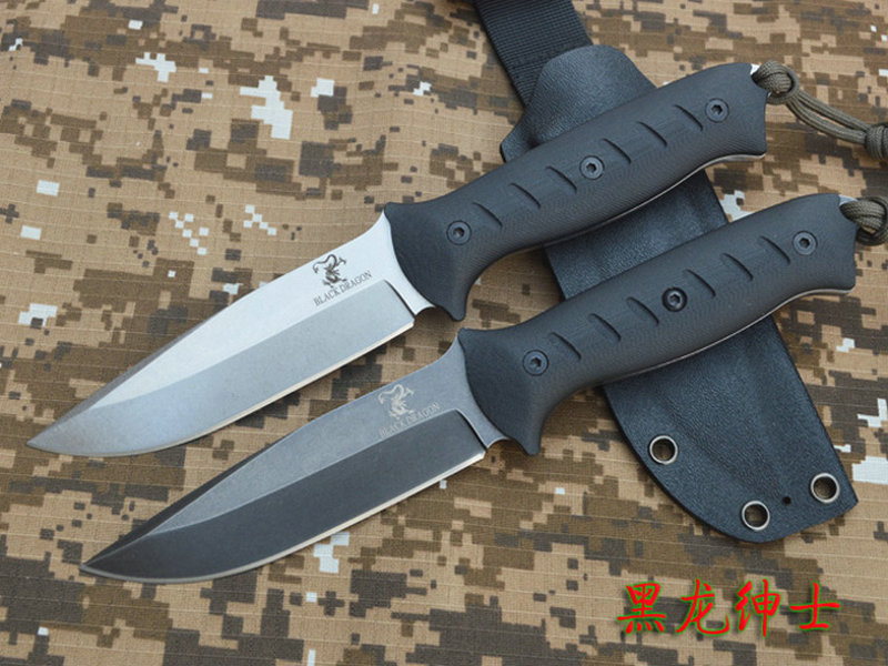 BLACK DRAGON Fixed Blade Camping Survival Knife Outdoor Tool Hunting Knives AUS-10A Steel G10 Handle With Kydex Sheath Freeship цена