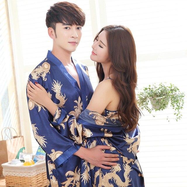 6e320ff8169 Sexy Couple Lovers Vintage Female Kimono Robe Long Dragon Print Nightgown  Novelty Sleepwear V-Neck