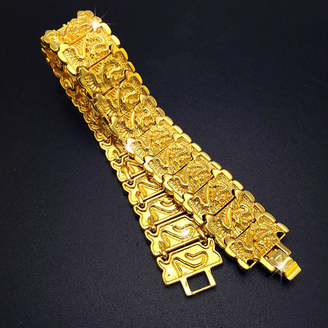 Широкий Желтый Позолоченные Жаждал Дракон Браслет Заявление Мужчины Шарм Браслеты Лучший Подарок Для Мужчин