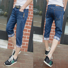HOT 2019 Summer casual jeans man Denim male slim Skinny trousers stretch teenager boys pants Men multi Button Capri pants Mens hot sell ripped men denim jeans printed skinny pants for man brand designer clothing 100% cotton luxury casual trousers male