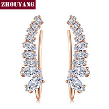 Top Quality 2015 New Four-Prong Setting 9pcs Cubic Zirconia Rose Gold Color Ear Hook Stud Earrings Jewelry ZYE791 ZYE792