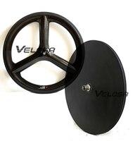 Track Time Trial Triathlon Bike Carbon Wheelset Front 3 Spoke Rear Disc Carbon Wheel 3 Spoke