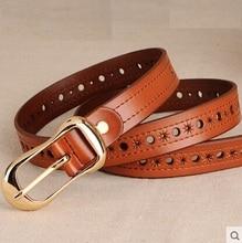 2016High quality metal genuine leather Cowskin pin buckle designer brand belt for women jeans vintage fashion dresses belts