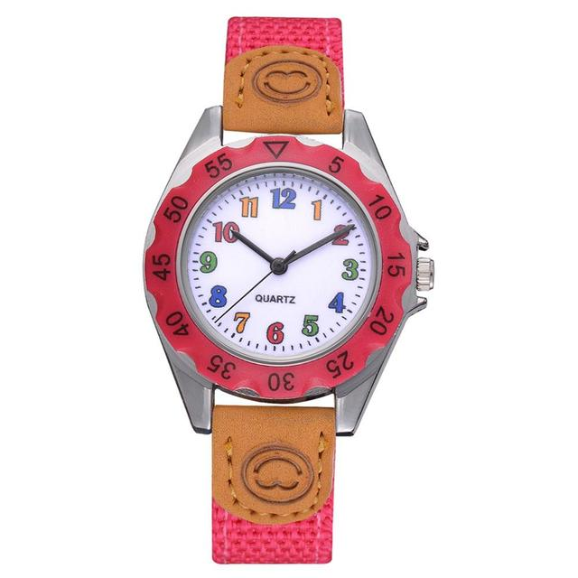 Hot Fashion Children Kids Arabic Numbers Nylon Band Wristwatch Analog Quartz Wat