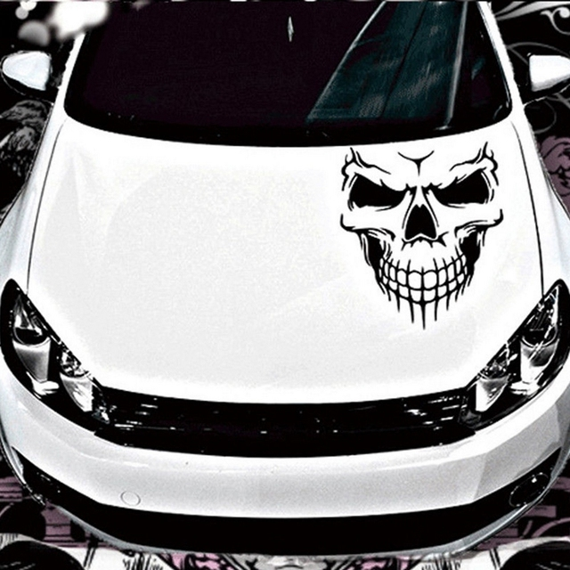 Large Size 40x36CM Skull Head Car Stickers and Decals Reflective Vinyl Car Styling Auto Engine Hood Door Window Car Decal
