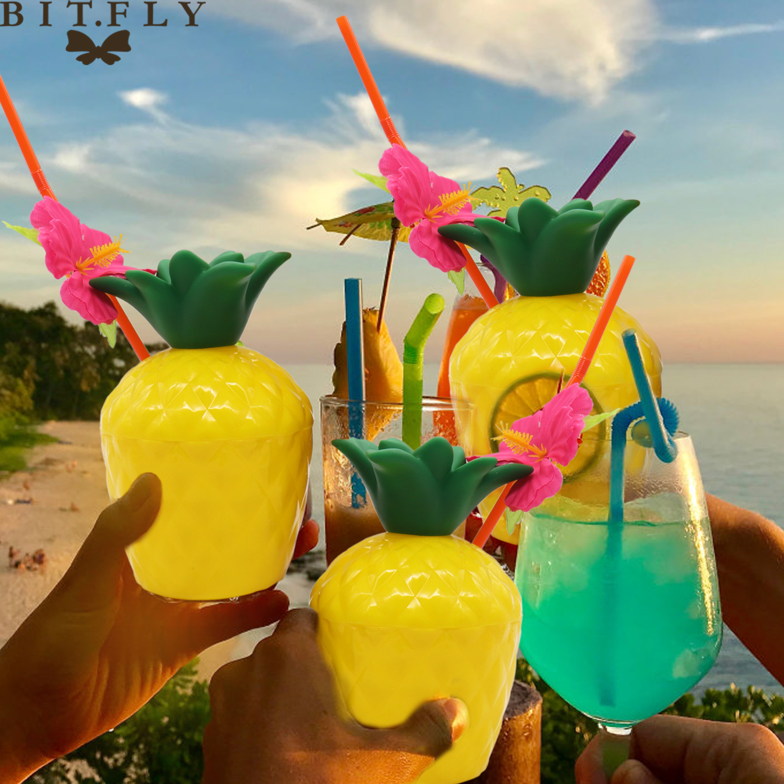 Hawaii party pineapple cup coconut cup summer party decoration straw plastic drinking cup  festival party tableware supplies