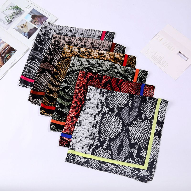 70x70cm Women Bohemian Square Bandana Ethnic Snakeskin Animal Digital Printing Headband Vintage Neck Tie Decorative Headwrap