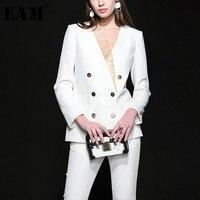 [EAM] 2018 осень зима женщина темперамент одноцветное белый сращены Кружева v образным вырезом двубортное пальто костюм с длинными брюками комп