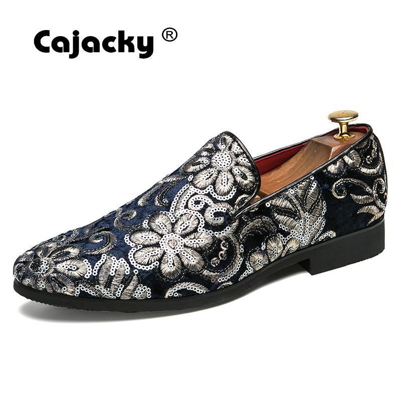 Dropwow Cajacky New Men Suede Loafers Black Blue Floral Smoking ... 9d173c029283