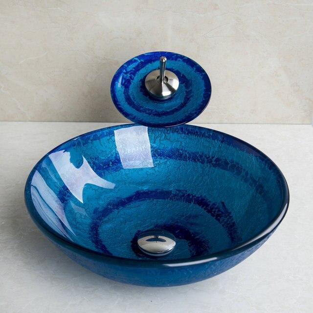 azul bao fregadero cascada de cristal lavabo de cermica pintados a mano lavabo
